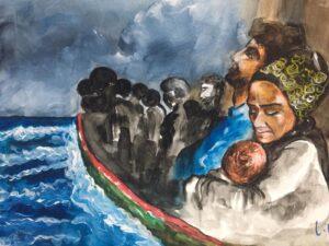 barcone migranti acquerello