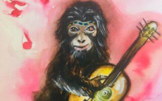 scimpanzé con la chitarra, illustrazione